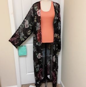 3X  TRUTH nyc SheerFloral Boho Kimono Maxi NWOT